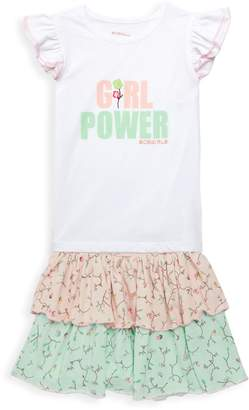 BCBGirls Little Girl's 2-Piece Girl Power Ruffle T-Shirt & Skirt Set