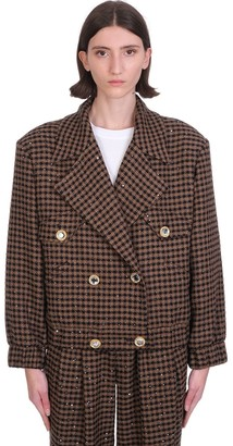 Alessandra Rich Bomber In Brown Wool