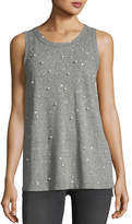 Current/Elliott The Crewneck Muscle Tee with Star Print & Studded Trim