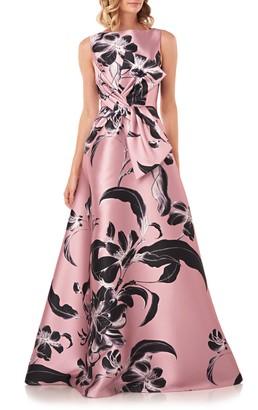 Kay Unger Grace Floral Twist Front Ballgown