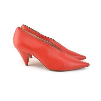 Celine Soft V Neck Red Leather Heels