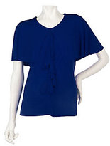 George Simonton Milky Knit Capelet Top with Front Ruffle
