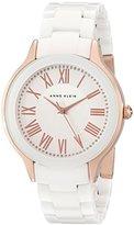 Anne Klein Women's AK/1948WTRG Rose Gold-Tone and White Ceramic Bracelet Watch