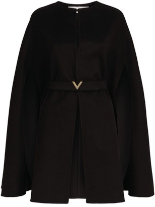 Valentino Wool-Cashmere Belted Cape