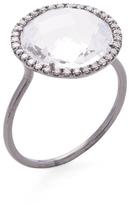 Meira T Women's Silver, White Topaz & 0.17 Total Ct. Diamond Cocktail Ring