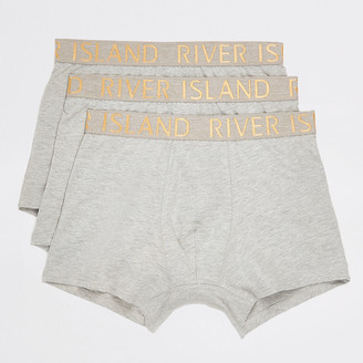 River Island Grey RI metallic waist trunks 3 pack