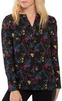 Kensie Bird Floral Long Sleeve Blouse