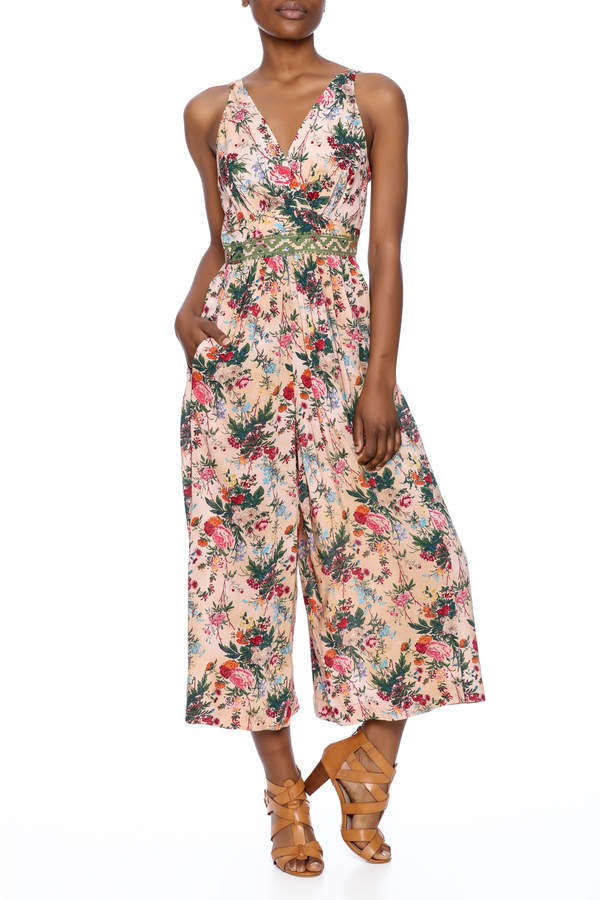 Plenty by Tracy Reese Peach Floral Jumpsuit