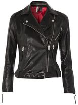 Topshop Belted leather biker jacket