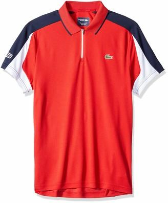 Lacoste Men's Short Sleeve Ultra Dry Pique Colorblock Zip Polo