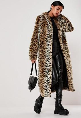 Missguided Leopard Print Long Faux Fur Coat