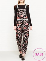 Needle & Thread Cherry Blossom Embroidered Dungarees