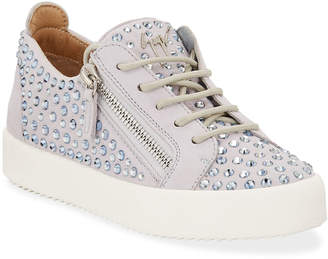 Giuseppe Zanotti Crystal Studded Leather Low-Top Sneakers