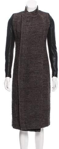Rick Owens Tweed Leather-Paneled Coat