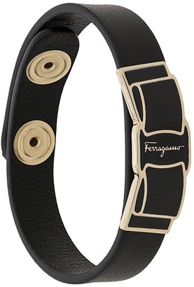 Salvatore Ferragamo Logo Plaque Leather Bracelet