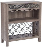 OSP Designs Helena Console Table with Mirror Floor Wine Bottle Rack