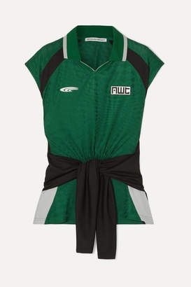 Alexander Wang Tie-detailed Jacquard-knit Polo Shirt - Green