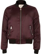 River Island Girls burgundy satin bomber jacket
