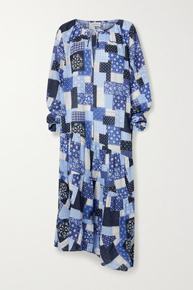 By Malene Birger Amily Asymmetric Tiered Printed Cotton-voile Maxi Dress - Blue