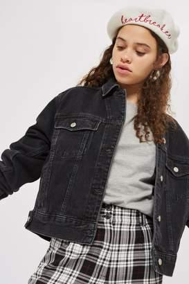 Topshop Womens Tall Oversized Denim Jacket - Washed Black