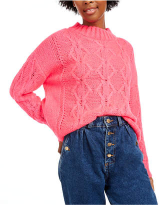 Hooked Up by Iot Juniors' Cable-Knit Sweater