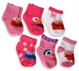 Sesame Street 6-Pack Elmo Girls Quarter Socks in Assorted Designs