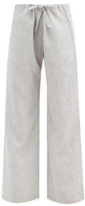Rossell England - Drawstring-waist Striped Linen Pyjama Trousers - Grey Stripe