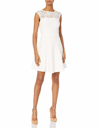 Taylor Dresses Women's Corded Knit Dress with Lace Bodice