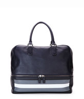 Giorgio Armani Leather Bowler Bag with Contrast Stripes