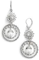 Marchesa Women's Orbital Crystal Drop Earrings