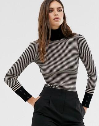 Fashion Union striped slim fit roll neck jumper-Black