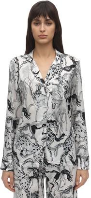 Stella McCartney Margot Racing Print Silk Pajama Shirt
