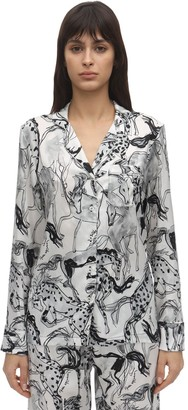 Stella McCartney MARGOT RACING PRINT SILK PAJAMA SHIRT