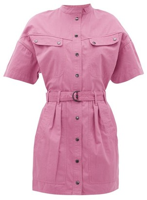 Etoile Isabel Marant Zolina Belted Cotton-canvas Shirt Dress - Womens - Pink