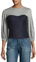 Tibi Hessian Linen Bustier Combo Top, Navy/Gray