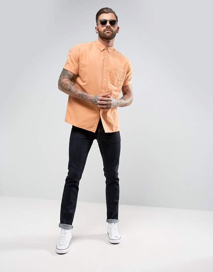 Asos Oversized Oxford In Orange With Short Sleeve