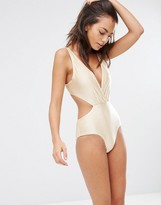 South Beach Metallic Plunge Tie Back Swimsuit