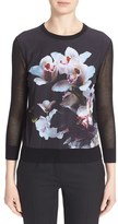 Ted Baker 'Celdana' Floral Print Mesh Sleeve Sweater