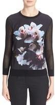 Ted Baker Women's 'Celdana' Floral Print Mesh Sleeve Sweater