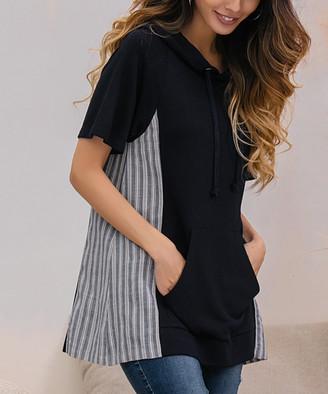 Z Avenue Women's Sweatshirts and Hoodies Navy - Navy Stripe-Inset Kangaroo Pocket Hoodie - Women