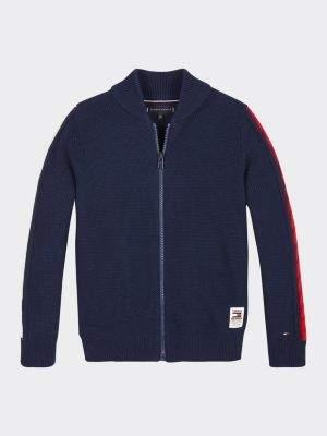 Tommy Hilfiger Cable Knit Stripe Zip-Thru Cardigan