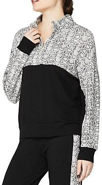 Monrow Colorblocked Snakeskin Print Sporty Sweatshirt