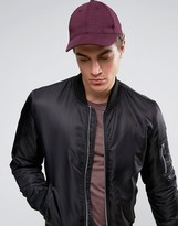 Asos Baseball Cap In Burgundy Jersey