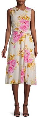 Donna Ricco Asymmetrical Draped Floral Dress