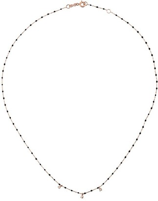 Gigi Clozeau 18kt rose gold mini Gigi diamond and black beaded necklace