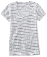 L.L. Bean West End Fitted Tee, Short-Sleeve V-Neck Polka Dot