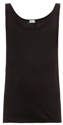 Saint Laurent Distressed-trim Scoop-neck Cotton-jersey Tank Top - Black