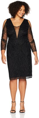 Adrianna Papell Women's Plus Size Cold Shoulder Short Beaded Dress