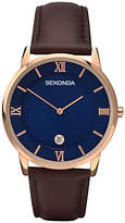 Sekonda 1091.27 Rose Gold Plated Date Leather Strap Watch, Brown/blue