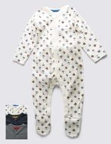 Marks and Spencer 3 Pack Boys Skin KindTM Nautical Themed Sleepsuits